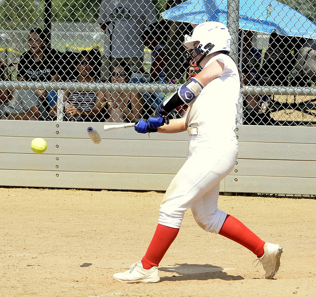 Colorado Classics hitter Mason Togher has her bat snap in half as she makes contact Saturday against Pride-Watts at the USSSA Mountain States Championships at the Barnes complex. (Mike Brohard/Loveland Reporter-Herald)