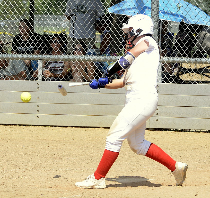 . Colorado Classics hitter Mason Togher has her bat snap in half as she makes contact Saturday against Pride-Watts at the USSSA Mountain States Championships at the Barnes complex. (Mike Brohard/Loveland Reporter-Herald)