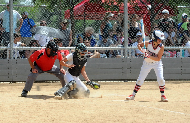 Colorado Classics catcher Ryley Long makes a stop during the USSSA 16U B Mountain States Championship tournament at Barnes Complex in Loveland.