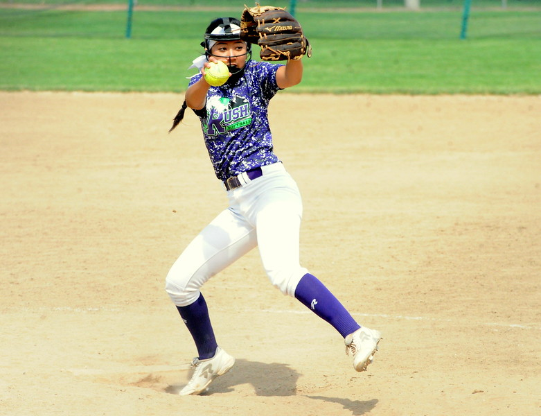 Rocky Mountain Rush's Natalee Hall delivers during the USSSA 16U B Mountain States Championship tournament at Barnes Complex in Loveland.