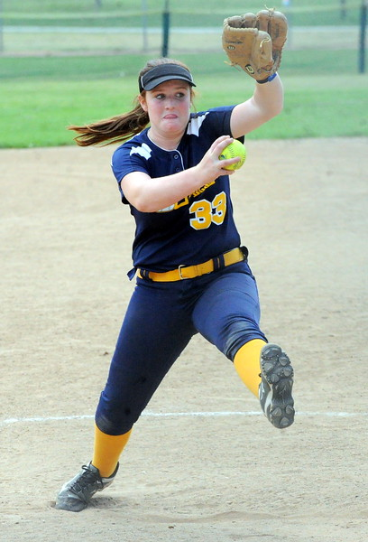 Berthoud's Angeline Mitchell pitches during the USSSA 16U B Mountain States Championship at Barnes Complex in Loveland.