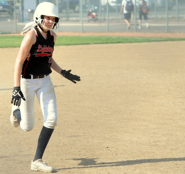 Colorado Lightning's Harley Duke during the USSSA 16U B Mountain States Championship tournament at Barnes Complex in Loveland.