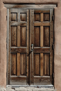 Wooden door in Santa Fe, New Mexico.