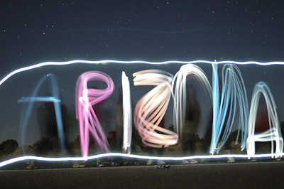 A bit of light painting with my students; 2010. The lights here are actually the screens of their cell-phones.