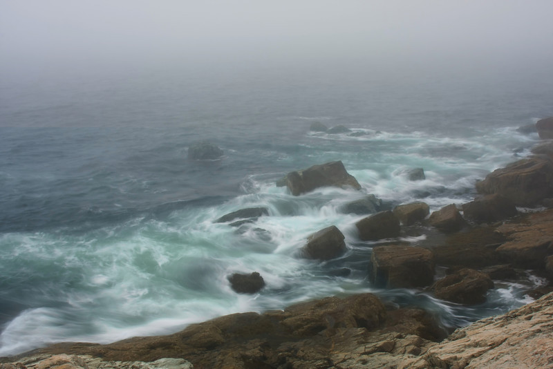 Early morning fog on the Atlantic Ocean at Acadia National Park, Maine