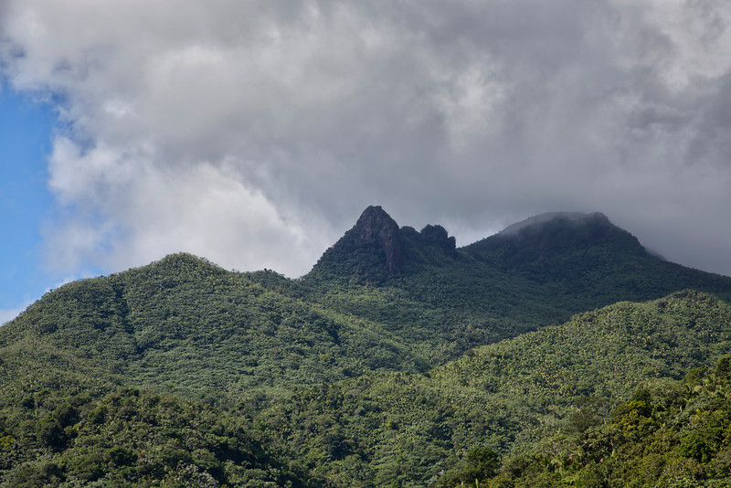 The more pointed peak on the left is Picachos Peak and the rounded peak on the right is Pico de El Yunque in the Caribbean National Forest of El Yunque