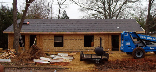 10 01-24 Duplex under construction on Elizabeth Street. The homeowner partners will be Thaddeus Harris and Chuck Davis. On February 3, Linda Fuller will lead devotions before volunteers start hammering siding. ky