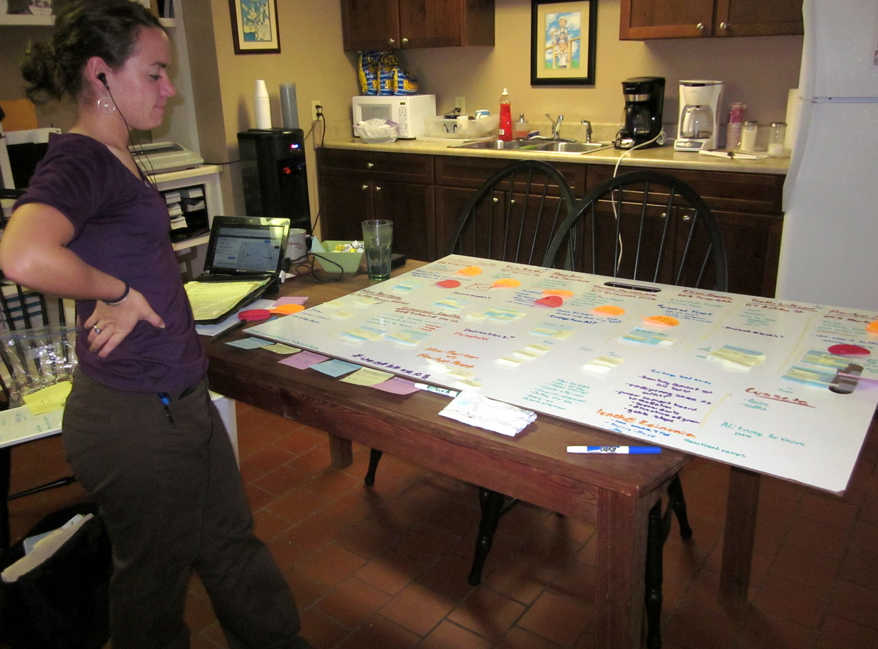 Alyssa Hostetler, director of the Americus-Sumter Fuller Center for Housing, looks over the 10 projects on tap for the Oct. 7-9, 2011, Faith in Action weekend.