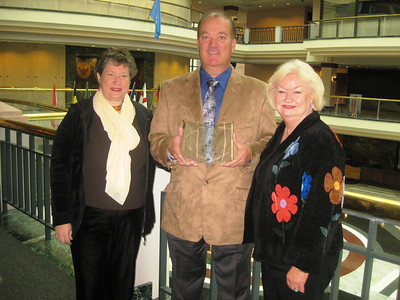 2011 11-19  L-R: Michelle Uchiyama (founding board member), Mark Galey (President), and Jackie Goodman (secretary-treasurer) with the award.