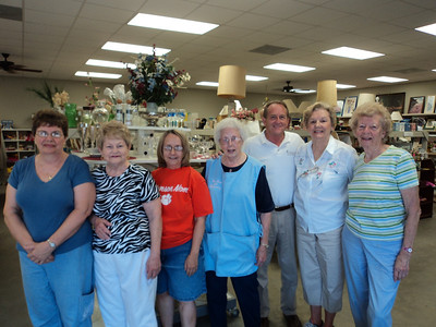 David Snell, President of The Fuller Center for Housing (international) visited Ginger Ford Northshore Fuller Center on July 2, 2012.  He visited The Fuller Shop located at 955 S. Morrison Blvd. in Hammond, which is a thrift store specializing in house wares and decorative items.  The Fuller Shop is run exclusively by volunteers and all the proceeds help fund the organization's local construction projects on the homes of low-income families.  Here, David Snell poses with members of The Shop's pricing committee.  (l to r – Shirley Flanagan, Rena Dameron, Dorothy Bartow, Iris Wiggins, David Snell, Betty Meador and Adele Bornkessel).