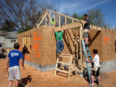 University of Idaho and Notre Dame students work on the Southwest Quarter Fuller Center home in Lumpkin, Ga., on March 14, 2012.