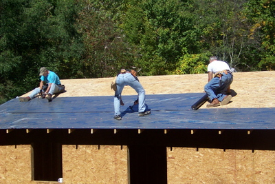 08 10-04 Konnarock, VA - Drying in the Pennington house, metal roof to follow. wb
