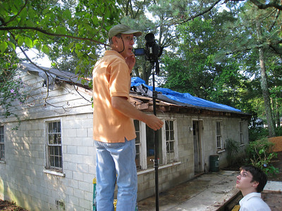 Rob Rainey setting up time lapse at Lillie Miller house.  lcf