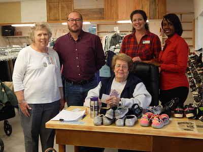From left: Samaritan Closet Director Judith Lilley; Chris Johnson of the Perry Georgia Fuller Center for Housing; Samaritan Closet volunteer Susan Arzt; Jennifer Bell of Path to Shine; and Nicole Rosser of Family Promise of Greater Houston County. Samaritan Closet presented donations to the three local nonprofit organizations on Thursday, November 9, 2017. Samaritan Closet sells gently used clothing at low prices with proceeds going to support the work of local community service organizations.