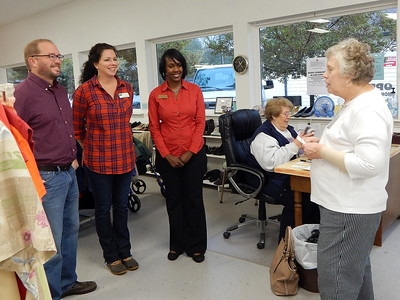 From left: Chris Johnson of the Perry Georgia Fuller Center for Housing; Jennifer Bell of Path to Shine; Nicole Rosser of Family Promise of Greater Houston County; Samaritan Closet volunteer Susan Arzt; and Samaritan Closet Director Judith Lilley. Samaritan Closet presented donations to the three local nonprofit organizations on Thursday, November 9, 2017. Samaritan Closet sells gently used clothing at low prices with proceeds going to support the work of local community service organizations.