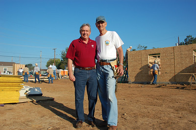 08 09-22 Allendale - L-R: Mack McCarter (Founder of Shreveport Bossier Community Renewal) and Millard Fuller. Day 1 of blitz. David Westerfield