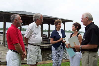 2008 06-29 Warwick, GA - Visiting after Boat Service. L-R: Frank Lott of Warwick, David Ewing & Linda Fuller of Americus and couple from Thomasville, GA. jw