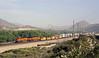 BNSF 7445 & 6623, Cajon, California, Tues 30 April 2013 - 0807.  The GE ES44DC and ES44C4 bring a stack train down Main 2...