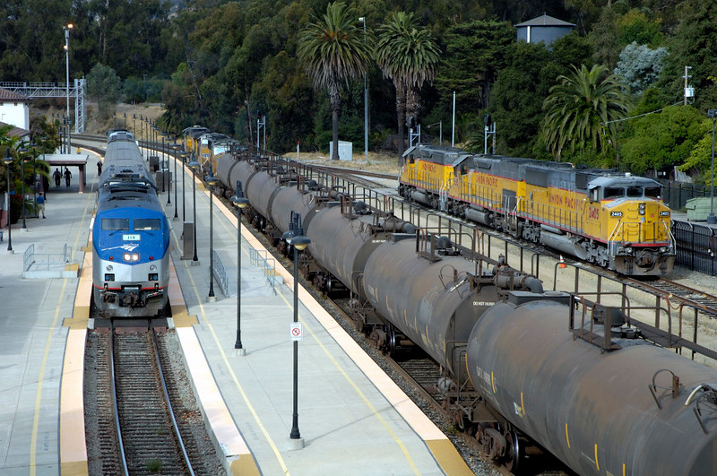 San Luis Obispo, California, Sat 30 September 2006 5 - 1621.  A general view looking north.  Stabled at right are UP EMD SD60M 2405 (nearest), EMD SD40T-2 'Tunnel Motor' 8605 & EMD SD40-2 3614.