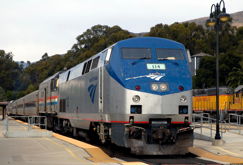 San Luis Obispo, California, Sat 30 September 2006 1 - 1617.  Amtrak P42DC 114 & former F40PH 90208 stand with train 798 to Los Angeles.  Pacific Surfliner trains like this work in push-pull mode, and P42DC 122 was on the rear.