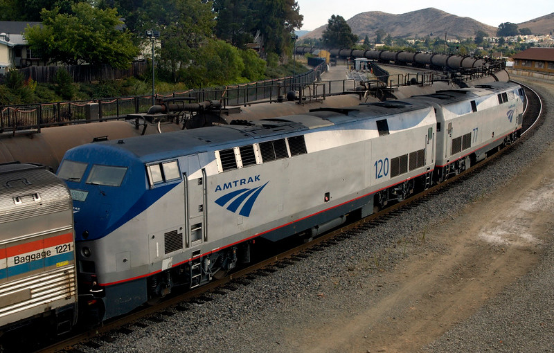 San Luis Obispo, California, Sat 30 September 2006 17.  Another view of Amtrak 77 & 120 departing with the Coast Starlight.