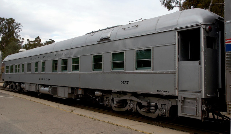 San Luis Obispo, California, Sat 30 September 2006 12.  Preserved ATSF business car 37 Chico was on the rear of the Coast Starlight.  Here are four views.