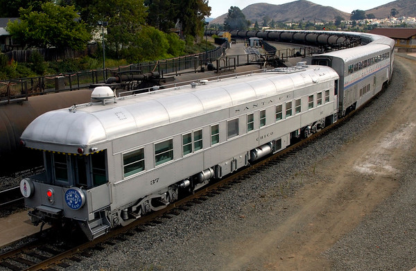 San Luis Obispo, California, 30 September 2006 18.  Preserved ATSF business car 37 Chico on the rear of the Coast Starlight.