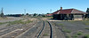 Abandoned DRGW Depot, Antonito, Colorado, 5 September 2008 - 1002.  Looking back from the caboose after uncoupling the freight cars, visible at left, as SLRG No 8524 takes us to the Cumbres & Toltec train.  The 29 miles from Alamosa to Antonito had taken 80 minutes.
