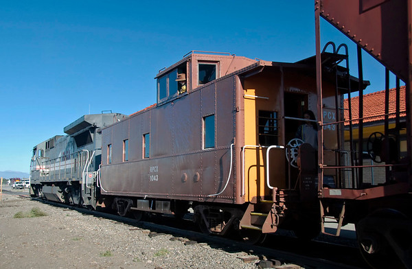 San Luis & Rio Grande GE B39-8 No 8524, Alamosa, Colorado, 5 September 2008 5 - 0837    This caboose provided the passenger accommodation on SLRG's mixed (actually mainly freight) train to Antonito, where the Cumbres & Toltec Railroad to Chama, New Mexico starts.