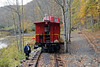 Picking up a caboose, near Durbin, West Virginia, Fri 15 October 2010 1.  'Castaway cabooses' are available to rent as holiday homes.