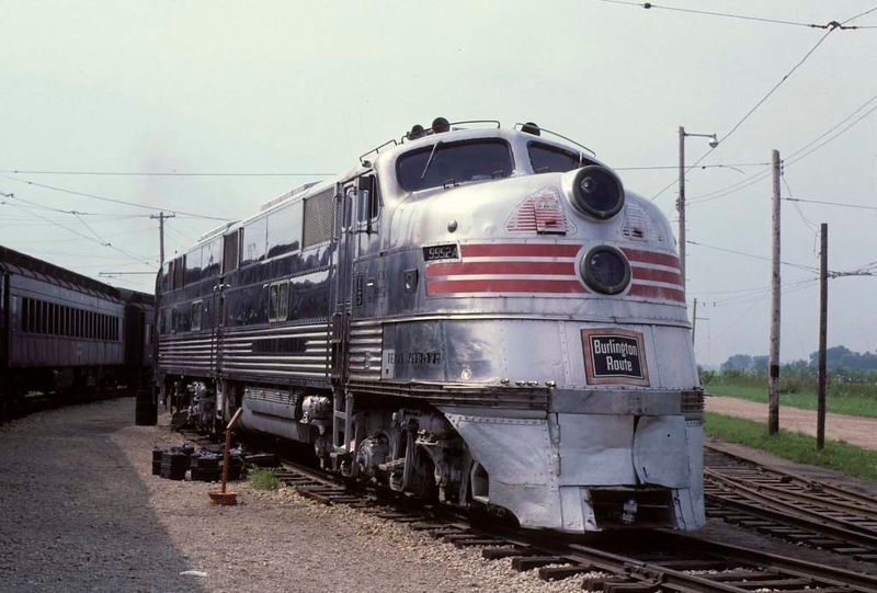 Colorado & Southern E-5 9952A Silver Pilot, Illinois Railroad Museum, Union, Illinois, 22 July 1978 1.  The loco is lettered for the Texas Zephyr, operated 1940 - 1967 between Denver and Dallas by two Burlington subsidiaries.  In 2020 it is  displayed as Chicago, Burlington & Quincy 9911A.  Photo by Les Tindall.