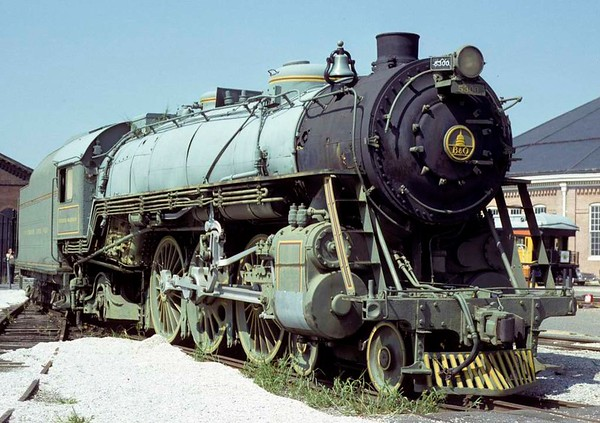 Baltimore & Ohio RR No 5300 President Washington, Baltimore & Ohio Railroad Museum, Baltimore, Maryland, August 1979.  4-6-2 built in 1927 by Baldwin.  Not retired until 1957 and seen in the (faded) olive green it first carried.  Photo by Les Tindall.