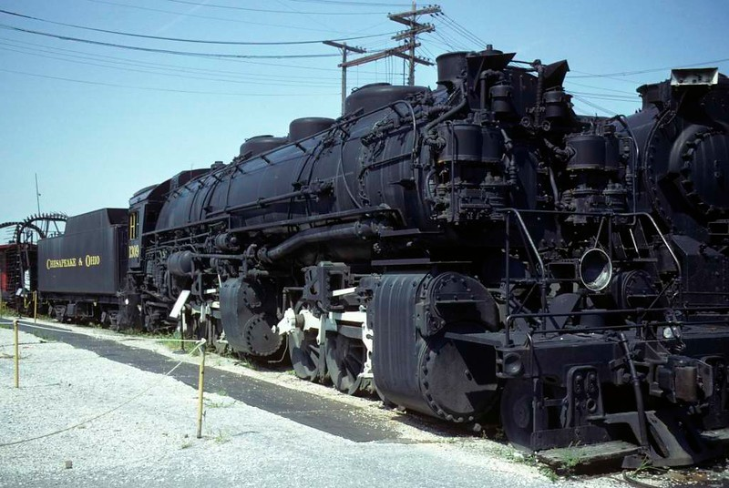 Chesapeake & Ohio RR 2-6-6-2 No 1309, Baltimore & Ohio Railroad Museum, Baltimore, Maryland, August 1979.  Built in 1949 by Baldwin, the last steam loco built by the company for a US railroad.  The loco behind it may be Chesapeake & Ohio 2-8-4 2705.  Photo by Les Tindall.