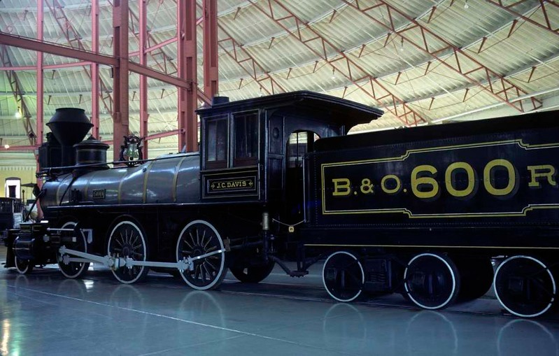 Baltimore & Ohio RR No 600 J CDavis, Baltimore & Ohio Railroad Museum, Baltimore, Maryland, August 1979.  Pioneering 2-6-0 built in 1875 by the B & O.  Photo by Les Tindall.