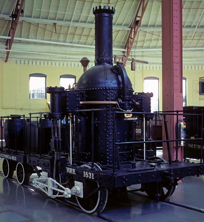 York, Baltimore & Ohio Railroad Museum, Baltimore, Maryland, August 1979.  Replica of a 'Grasshopper' 0-4-0 built in 1831 by the Baltimore & Ohio RR.  Photo by Les Tindall.