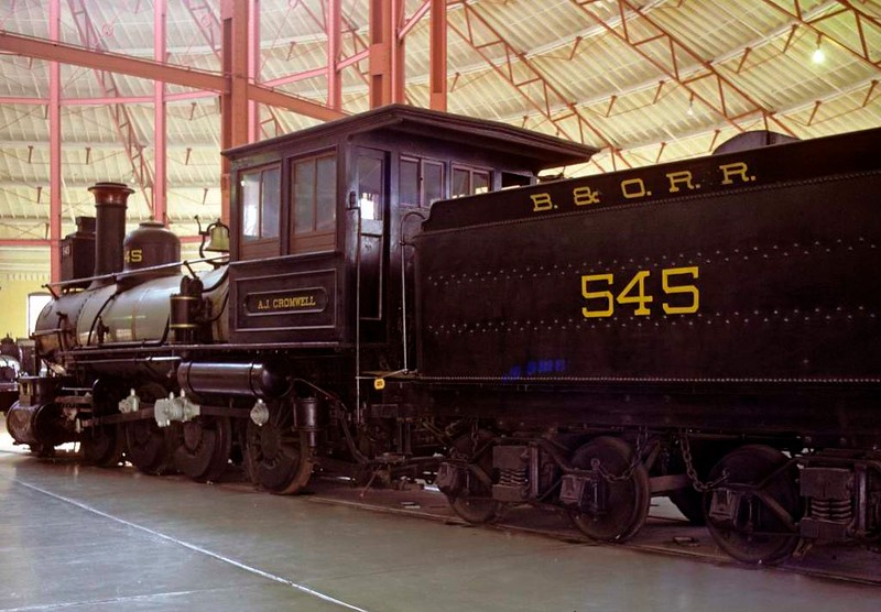 Baltimore & Ohio RR No 545 A J Cromwell, Baltimore & Ohio Railroad Museum, Baltimore, Maryland, August 1979.  2-8-0 built in 1888 by the B & O.  Named in 1927 for its designer.  Photo by Les Tindall.