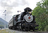 The Robert Dollar Co No 3, Sunol, Niles Canyon Rly, California, Sun 5 May 2013 - 1505.  The 2-6-2T arives from Niles.