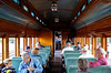 Inside passenger car Walnut Hollow, Strasburg Railroad, Pennsylvania, Wed 6 October 2010.    NB the stove at the end!