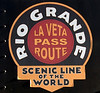 Rio Grande Scenic RR badge, Alamosa, Colorado, 4 September 2008    Welcome to Colorado's newest steam tourist railroad operation!  As can be seen, the Rio Grande Scenic uses a version of the Denver & Rio Grande Western's famous badges promoting its Royal Gorge and Moffat routes.