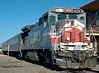 San Luis & Rio Grande GE B39-8 No 8524, Alamosa, Colorado, 5 September 2008 3 - 0812    The GE passes the depot with a pair of coaches...
