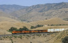 BNSF 6558, 7609, 5227 & 6731, near Caliente, California, Wed 1 May 2013 1 - 1542.  The GE ES44C4, ES44DC, C44-9W and ES44C4 climb south from Caliente to Tunnel 2 and Bealville.