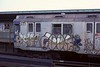 Heavily graffitied R10 car 3164 at Rockaway Boulevard on 10 July 1978.  (Photo by Les Tindall.