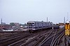 A New York City Subway A line train comes off the Rockaway line at Rockaway Boulevard, Queens, on 10 July 1078.  The R46 stock had been built by Pullman-Standard 1975-78.  (Photo by Les Tindall.)