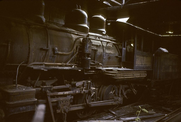 East Broad Top RR No 3, Mount Union, Pennsylvania, August 1979.  Photo by Les Tindall.  This 0-6-0, built by Baldwin in 1923, had been in this engine house at Mount Union since the EBT closed in 1956, and was still there in 2010.  It is standard gauge, unlike the other EBT locos, and used to shunt the dual gauge yards at Mount Union.