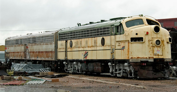 CNW F7A No 401, Cheyenne, Wyoming, 12 September 2008 1   The Chicago & North Western F7A was built in 1949.  Behind it in faded Amtrak colours is former UP E9B No 966B.