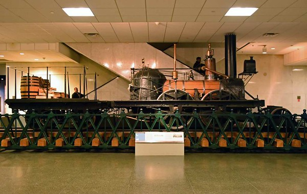 'John Bull', Smithsonian American History Museum, Washington DC, 15 May 2017 1.  Built in Newcastle, England, in 1831 by Robert Stephenson & Co for the Camden & Amboy RR in New Jersey.  Gauge was originally 4 feet 10 inches, later converted to standard gauge.