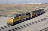 Union Pacific 5174, 4996 & 4756, West Colton yard, California, Sun 28 April 2013 - 0823.  Three EMD SD70Ms.
