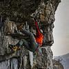 Matt Tuttle Demonstrating how to heelhook mixed climbing.