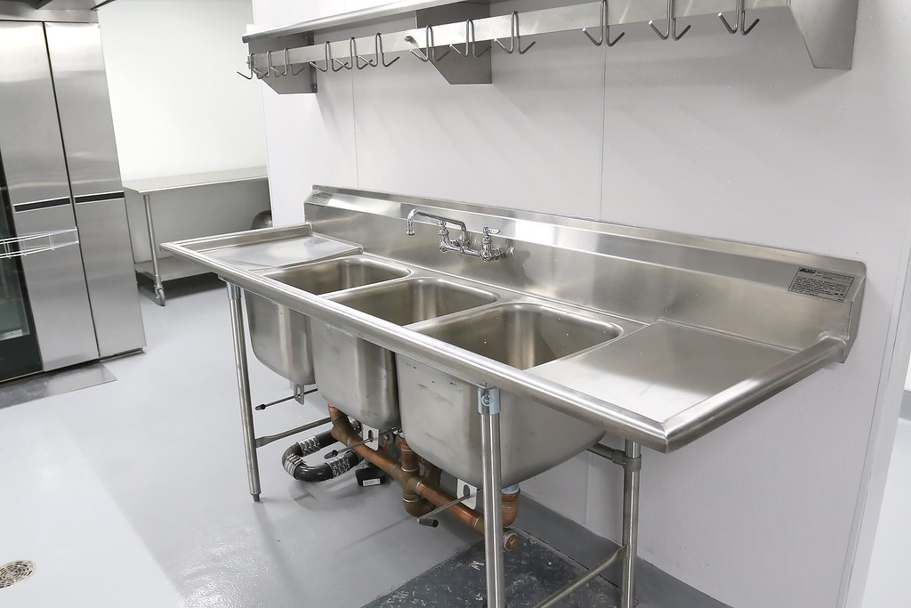 . A water station in UTEC\'s new 5,000 square foot commercial-grade community kitchen in Lowell. SUN/JOHN LOVE