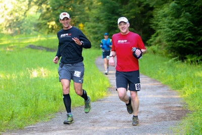 bob and I running the watershed 12 hour race (a 50k for me) - photo by glenn tachiyama